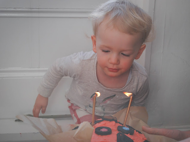 Toddler blowing out candles birthday cake