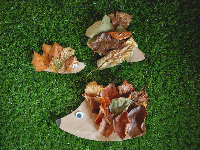 Collection of three leaf hedgehogs. Autumnal craft for toddlers