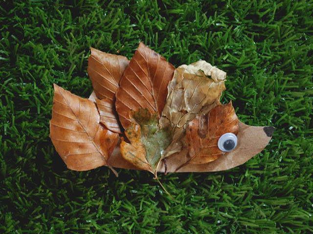 Autumnal hedgehog craft made from paper and leaves