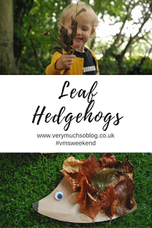 Make leaf hedgehogs. Autumnal leaf craft for toddlers with Very Much So blog. vmsweekend